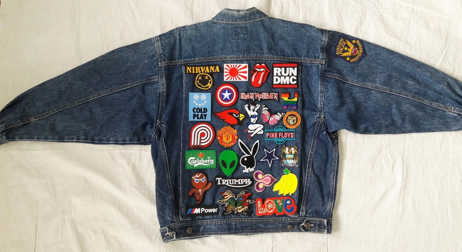 Patch Jean Jacket / Hand Reworked Vintage Jean Jacket With