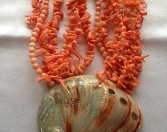 Orange Coral & Shell Necklace