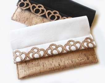 STAN Cork and White Vegan Leather Clutch   Handmade in Italy with Sardinian Cork
