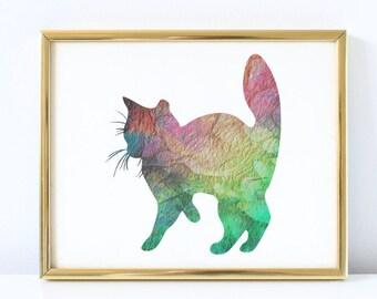 Cat Print, Cat Art, Cat Wall Art, Colorful Cat Print, Multi-Color Cat, Cat Silhouette, Cat Wall Decor, Home Decor, Kids Decor, Nursery Decor