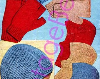 INSTANT DOWNlOAD - PdF Pattern - Fingerless Mitts KNITTING Pattern Vintage 1950s Balaclava Helmet Pattern Sizes Child Teenager Adult
