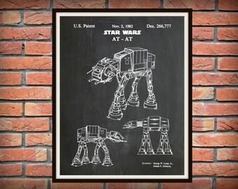 Patent 1982 Star Wars AT-AT Imperial Walker - Art Print - Poster Print - Wall Art - George Lucas - Lucas film - Battle of Jablim