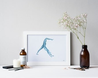 Yoga Art | 3 Legged Downward Dog | Original Watercolour Painting | A4