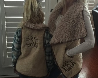 SALE!!!Womens Teen Faux Fur Monogrammed Embroidered Personalized Shearling Vest