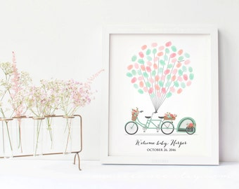 Baby shower Bicycle Fingerprint guestbook - Tandem bicycle thumbprint guest book alternative - Birthday gift - Digital file printable - DIY