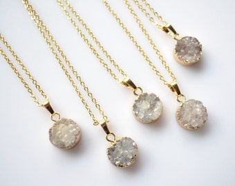 Nature grey 15MM round Agate Druzy slice pendant Necklace, Gold Plated grey Drusy crystal Geode Necklace ,wedding party birthday jewelry