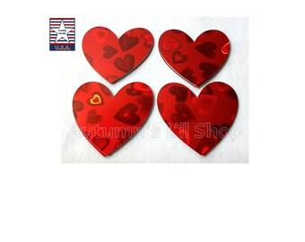 Red Heart Diecut, Hologram Hearts, Red Heart Confetti, Valentine Day Confetti, Red Paper Heart, Shower Heart Confetti, 20 pieces