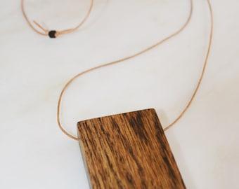 Wood Block Necklace - Ebony