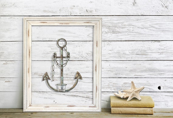 Framed Anchor Wall Decor Nautical Decor Metal Anchor Beach