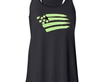 Glow in the Dark Clothing American Flag Memorial Day 4th of July Women Teens Flowy Tank t Shirt