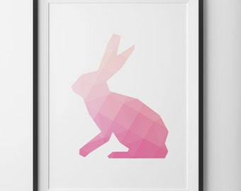 Pink Rabbit Geometric Easter Print, Spring Art Pink Bunny Print, Peach Pink Magenta Pastel Art, Light Pink Bunny Rabbit Art, Digital Print