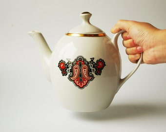 Retro Vintage Soviet USSR Tea Pot Teapot Kettle Boiler Cauldron Teakettle Vessel Enamel Porcelain Faience Fayence NEW