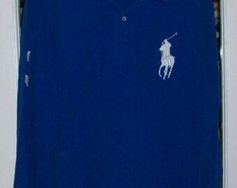 Mens Ralph Lauren Polo Blue Pullover Shirt Big Label XL
