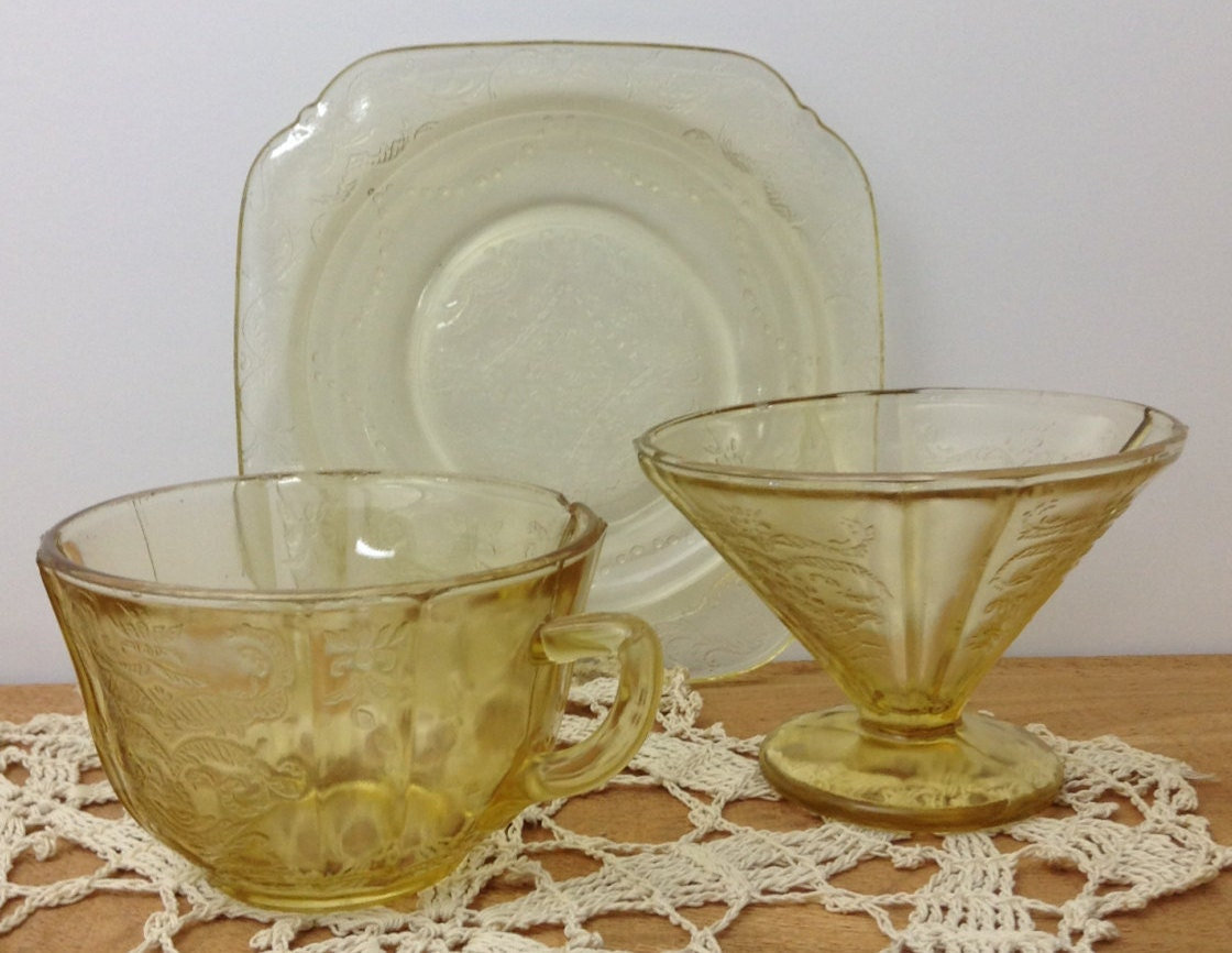 Yellow Depression Glass Collection Yellow Madrid Glassware