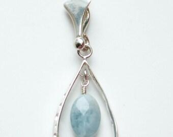 Aquamarine necklace, sterling silver necklace, gemstone pendant necklace, blue milky aquamarine, semi precious gemstone, March birthstone
