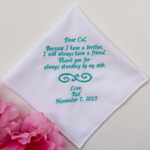 Special Wedding Gift For Brother : Personalized Wedding Handkerchief For Brother Of The Bride-Embroidered ...
