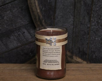 Upcycled Basil Hayden Candle Recycled Bourbon Bottle Essential Oil Soy Candle 750ml Recycled Glass Whiskey Bottle 18 oz Soy Wax Bourbon Gift