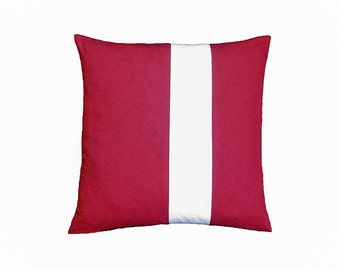 Red White Pillow Cover, Red White Cushion Cover, Red Throw Pillow, Red White Accent Pillow Cover, Nautical Cushion Cover, 16 x 16 Cushion
