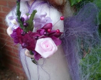 Wool Felt Fairy - Heather Felt Faerie Bride