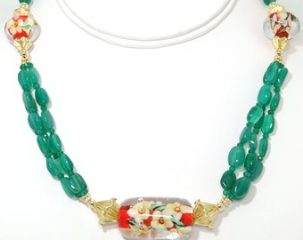BN109- Green Onyx and colorful Lampwork Glass necklace