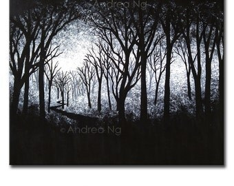 Surreal Art, Monochrome Black and White Forest Painting, Black and White Art, Gothic Art, Gothic Painting, Dark Painting, Dark Art, Original