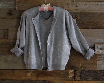 Vintage Silvery Classic Twinset By Leslie Fay Sportswear Petite Women's M Fully Fashioned Made in Hong Kong Free US Standard Shipping