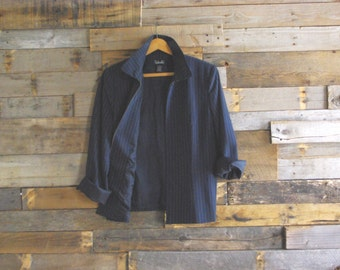 Vintage Zip Front Chalk Stripe Jacket By Rafaella Size 10 Made in Hong Kong Free US Standard Shipping
