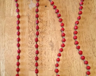 paper bead necklace - red