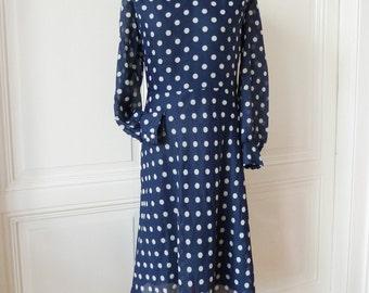 Vintage dress with points, chiffon dress, PolkaDots, 50s 60s dress,.