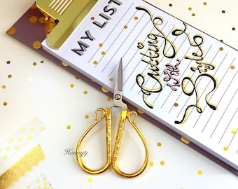GOLD Scissors. Ancient CHINESE SYMBOL  Embroidery Crafting Gold Traditional Scissors. Planner Desk accessories. Sewing Tool.