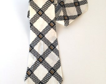 Vintage 30s Tie, Mens Necktie, Black & White, Orange, Criss-Cross, Jacquard,  Rayon, New Old Stock, Multiples In This Style, Lindy Hop!