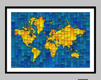 World Map Glasa - a map of the world art print by elevencorners - world map decor - map art picture - poster - several colors available