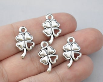 8 Pcs Four Leaf Clover Charms Antique SIlver Tone 20x12mm - YD0201