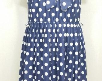Vintage Blue and White Polka Dot Tea Dress with Neck Tie Size 12 1970's Secretarial - Free Postage