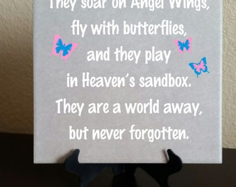 Baby Memorial 8x8 Tile-Size Decal - Butterflies and Dragonflies with free US shipping