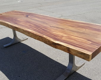 """118"""" Solid Slab Acacia Wood, Live Edge Dining Table Hand Crafted 031 SOLD"""