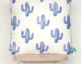 SALE | Cushion cover with blue cacti