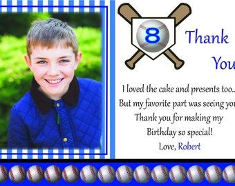 Custom Child's Baseball Birthday Thank You Card