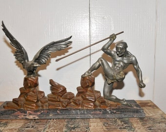 """Antique French Art Deco Statue """"The Hunter and the Eagle"""" #6175"""