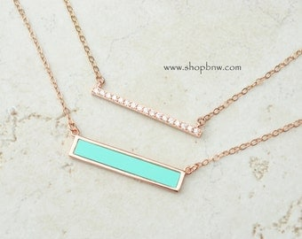 Rose Gold Turquoise Diamond Bar Necklace Set / Sterling Silver, Gold, Rose Gold / Delicate Necklace / Layering Necklace