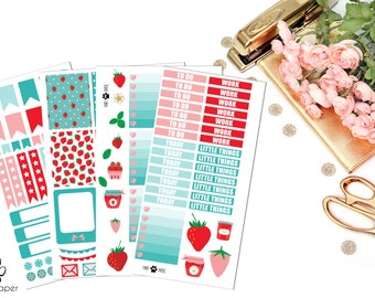 November & June VERTICAL Strawberry Sticker Set