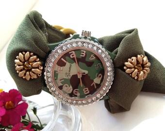 Camouflage Watch for Women- Military Style Army Green Watch - Green Bracelet Watch - Camo Dial Watch- Rhinestone Watch- Gift for Girlfriend