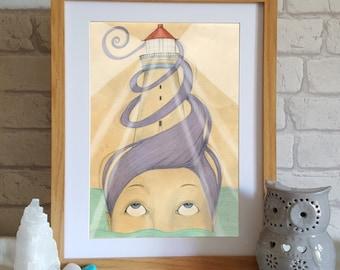 Lighthouse mermaid  art print - nautical illustration print - mermaid art - Surreal illustration - seaside print - wall art - ocean art
