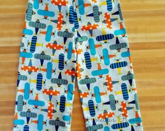 Adorable Airplane Lounge Pants, Boys Pants, Lounge Pants, Elastic Waist For Comfort, All Cotton