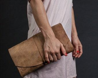 Brown Leather Clutch Bag - Women's Shoulder Bag - Womens Designer Handbags - Leather Purse - Women Leather Bag - Leather Clutch Bag