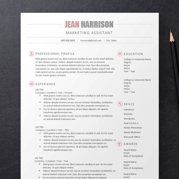 Professional Simple Pink Gray Modern Resume, Cover Letter & References Package with Matching Icons for Microsoft Word - Digital Download.