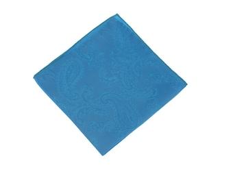 Aqua Paisley Pocket Square.Aqua Wedding Pocket Square.Silk handkerchief