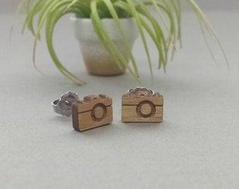Vintage Camera Earrings - Laser Engraved on Alder Wood - Titanium Post Stud Earring Pair