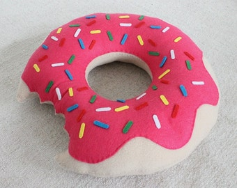 Cute Pink Doughnut Pillow Hand Sewn Fleece Felt Cute Pillow Birthday Gift Room Decoration Donut Pillow Present For Him For Her Doughnuts