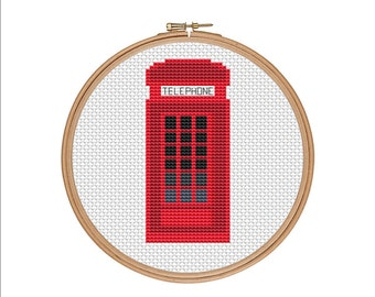 Cross stitch pattern, London phone booth, Red phone booth, Phone booth, London sign, Telephone cabin, Easy cross stitch, Cheap cross stitch